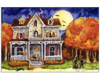 Halloween Trick or Treat - PRINT of my Original Watercolor Painting Folk Art