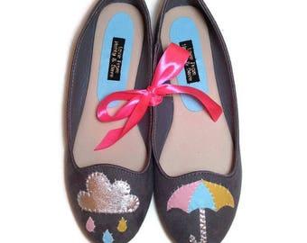 Pastel Grey Rain Cloud Umbrella Customised Ballet Shoes