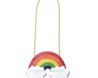 Leather Rainbow Cloud Necklace