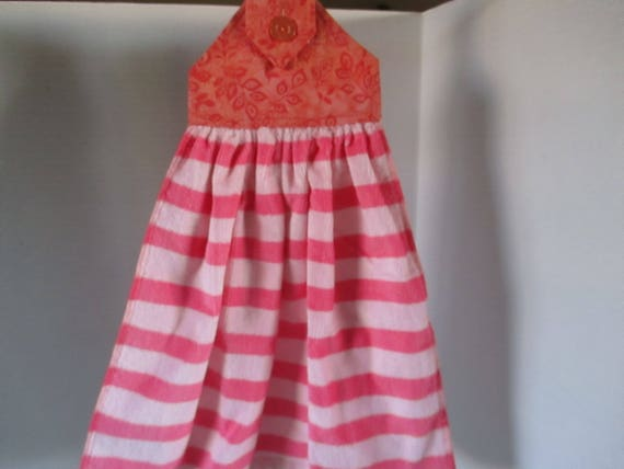Kitchen towel, hanging towel, fabric hanger, peach, light peach stripes,  hand towel, hand drying, kitchen linens, patio