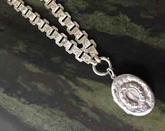 Silver Horseshoe Locket and Book Chain Necklace Adie /& Lovekin 1916