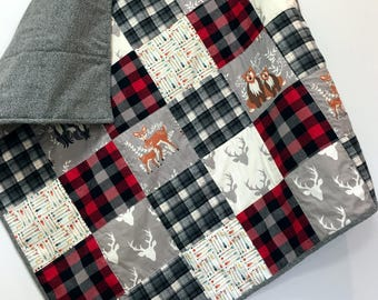 Baby Boy Quilt-Buffalo Plaid-Woodland Forest Animals-Patchwork-Deer-Bear-Nursery Bedding-Crib Quilt- Black Red Plaid Check-Crib Quilt-