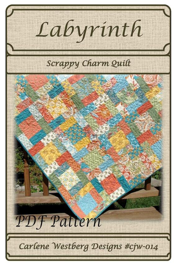 Pdf Quilt Pattern Labyrinth Scrappy Charm Squares Carlene Etsy