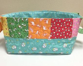 Nursery Caddy-Fabric Basket-Quilted Diaper Caddy-Organizer-Shower Gift Basket-1930s Feedsack