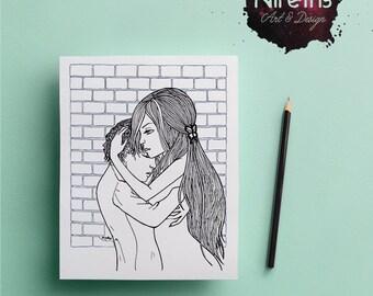 Hug Coloring Page