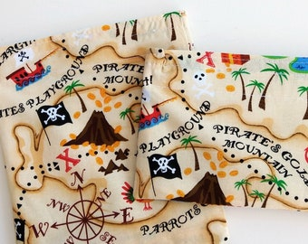 Pirates reusable Snack bags for kids, fun for Boys, girls, Zero waste Food safe storage bags, birthday party favor bags, School supplies