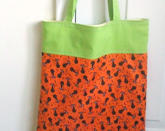 Eco-friendly Trick or Treat Bag, handmade Sustainable Halloween reusable tote, ready to ship, Black Cats on orange, Vegan, cute, Kid safe