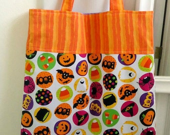 Trick or Treat bag, Ready to ship, Reusable and sustainable Halloween Treat bag with Pumpkins, Spiders, Candy Corn, Eco friendly kid's tote