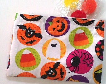 Halloween Treat Bag, Reusable Snack bag, Sandwich bag, Zero waste School lunch, Halloween party favor bag, kid-friendly food-safe BPA free