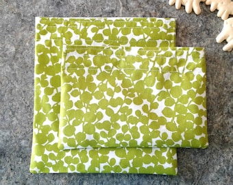 Eco-friendly Reusable Snack bags, Food safe, BPA free, Zero waste lunch bags for work or school, Vegan, Sustainable, fresh green
