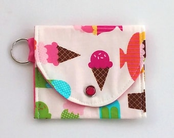 Kid's coin purse with ice cream cones, Little girls' wallet, Mini wallet, Keychain wallet, fun cotton wallet for Summer, vegan