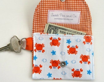 Kid's wallet, Preppy Nautical coin purse Keychain wallet Mini wallet with happy Orange Crabs, fun for Summer, vegan sustainable