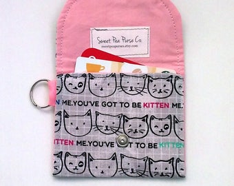 Coin Purse with Kitten Faces, Vegan wallet Keychain wallet Cat purse Kid's wallet Mother's day gift Graduation gift for her under 10 dollars