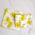 Vintage floral Reusable Snack bags Sandwich bag Yellow floral, Eco friendly Sustainable Vegan bags, Waste free lunch, Zero waste School