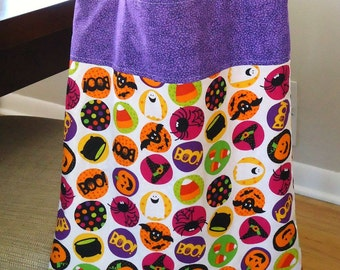 Trick or Treat bag, Eco friendly Halloween treat bag, Cute Sustainable Halloween for Kids, not scary, Big enough to hold lots of candy
