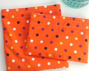 Fun Reusable Treat bags, Polka dot Snack bag, Sandwich bag, eco friendly, sustainable, Zero waste lunch for school, Kid safe, BPA free