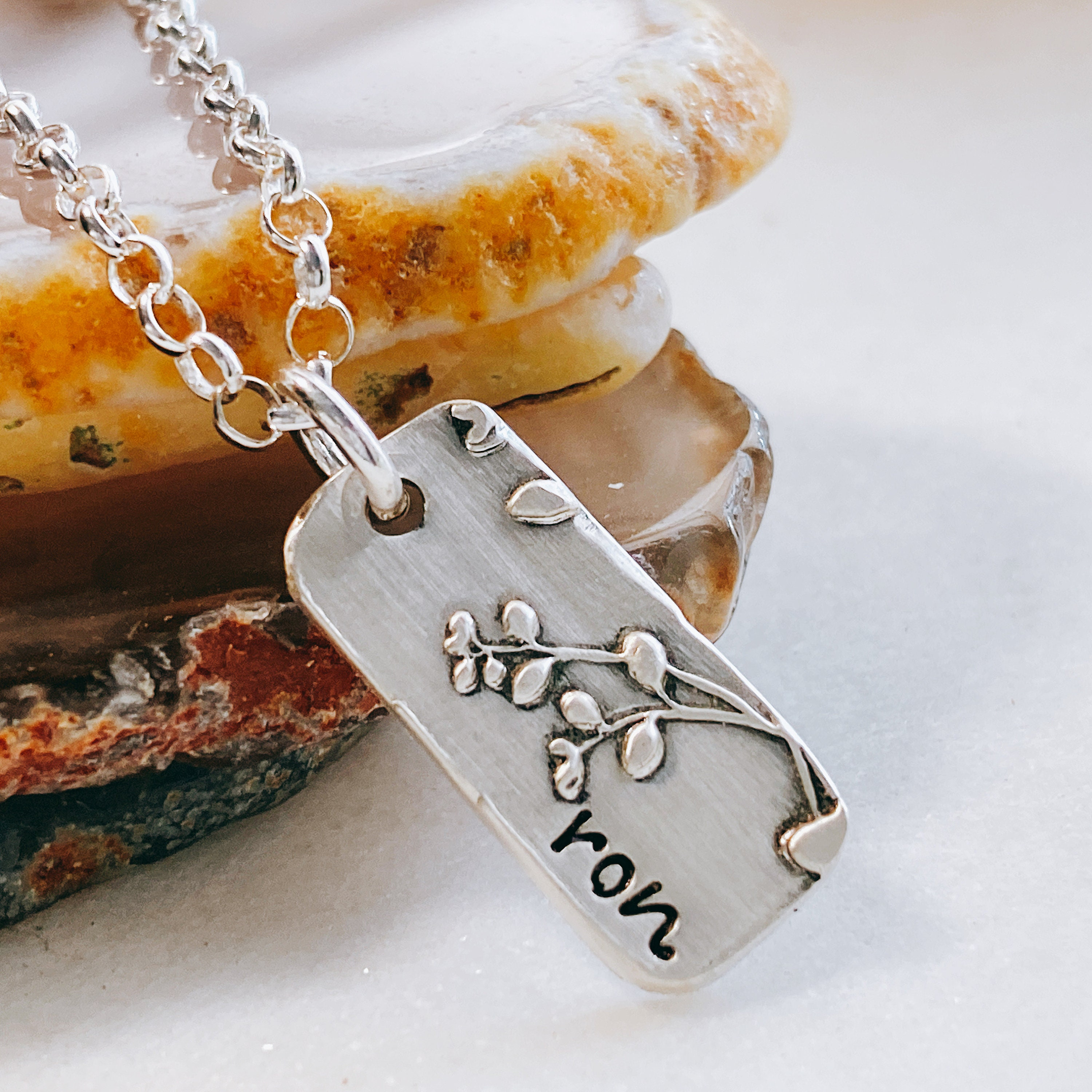 Personalized name necklace Sterling handstamped necklace with flower charm
