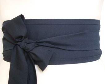 76763f3f7 Obi belt - Dark Navy indigo blue cotton fabric - Oriental asian eastern  style Kimono yukata robe dress belt sash tie - deep inky blue trend