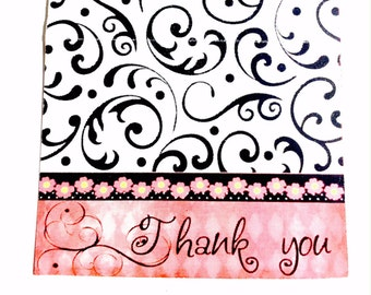 Set of 12 Small Thank You Cards, Blank Inside, Personalize, Etsy Business Thank You Cards, Black, White, Faded Red
