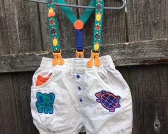 0aeee78d0 Cute vintage Gymboree suspender short animal romper