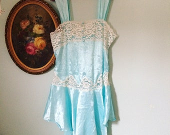 Mermaid dreams exquisite ice blue satun and kace chemise