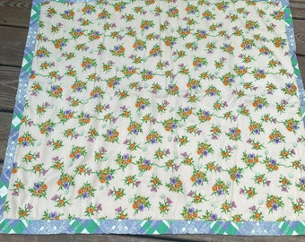 Vintage butterflies and flowers 1960s baby quilt