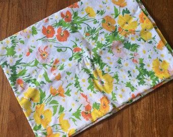 Feel the sunshine. Vintage flat sheet. Bright flowers.