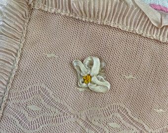 Beautiful dreamy vintage lace ribbon work hankie holder