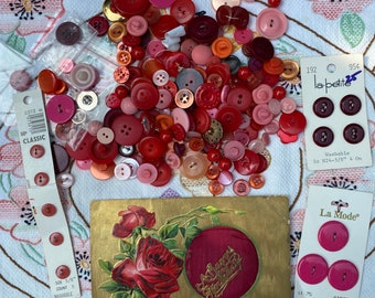 Red and pink. Vintage Buttons and antique postcard crafty pack.