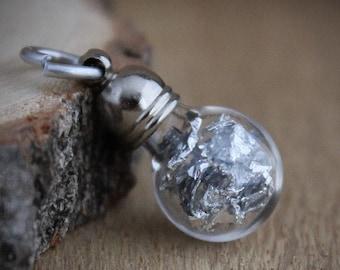 Silver foil pendant, hobby supply, charm, silver metal terrarium, minimalist, modern, keepsake, silver foil charm, geology, Netherlands