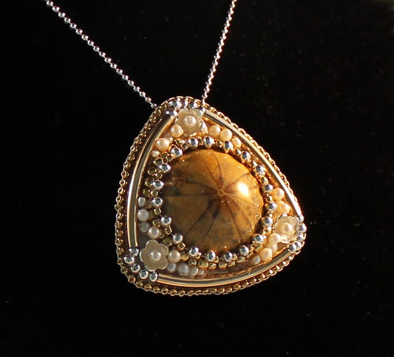 sea urchin fossil pendant Gold and sterling silver pendant gold and silver necklace NL one of a kind pendant gemstone necklace OOAK