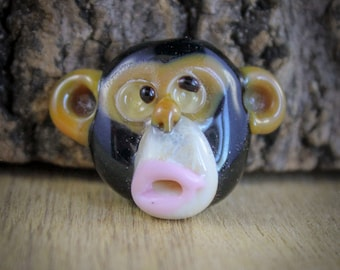 Monkey face lampwork glass focal bead, chimpansee, hobby materials, hobby supply, handmade glass beads, jewelry supplies, unique bead, chimp