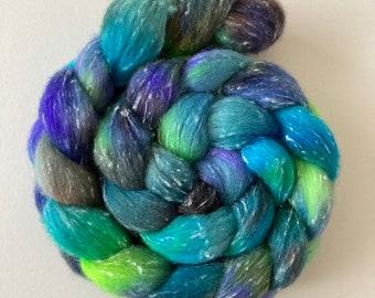 Hand painted wool/viscose blend fibre 101g/3.5oz