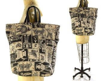 90s Reversible Cotton Animal Print Tote Vintage 1990s Large Handmade Bag African Mudcloth Ethnic Boho Inspired Print