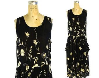 90s Grunge Sheer Crinkle Rayon Maxi Dress Vintage BILA Black Floral Boho Rocker Romantic Sundress Bohemian Summer Dress Medium
