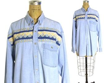 eec88b5b4b Patchwork Denim Shirt Vintage 80s Wrangler Button Down Long Sleeve Western  Boho Hippie Festival Shirt Unisex