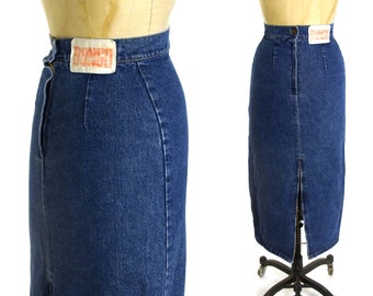 5957bcf91c2 Bongo Denim Skirt Vintage 80s High Waisted Jeans Pencil Skirt Women s Size  Extra Small 25.5