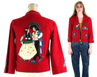 Mexican Applique Wool Jacket Vintage 50s