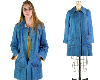 Denim Swing Trench Coat with Leather Trim Vintage 70s
