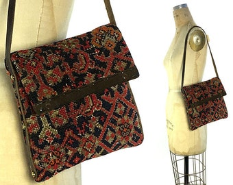 60s Kilim Purse Vintage 1960s Woven Wool Carpet Bag with Leather Trim Ethnic Boho Hippie Bohemian Rug Remnant Tapestry Tote Pouch