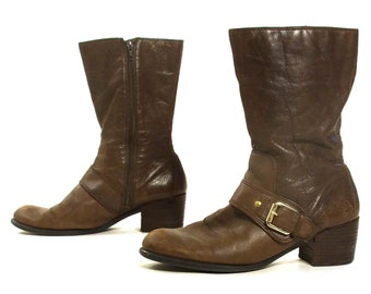 e50e130d43de Nine West Ankle Boots Vintage 90s Brown Leather Zip Up Medium Block Heel  Booties with Ankle Harness Women s Size 11