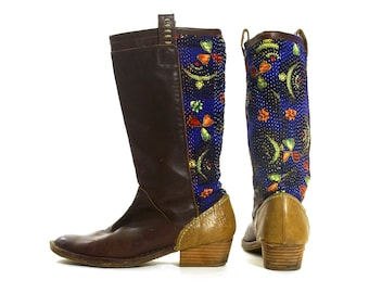 c6bece14a9d Leather Riding Boots Vintage 90s Brown Leather   Embroidered Cotton Kantha  Quilt Fabric Low Heel Campus Boots Women s Size 8.5