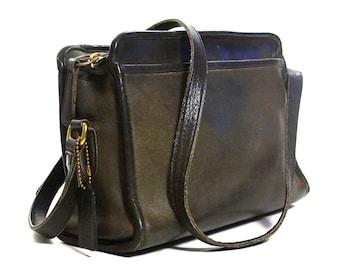 Coach Shoulder Bag Vintage Large Black Leather Satchel with Zipper Closure    Long Shoulder Strap d00c34f824
