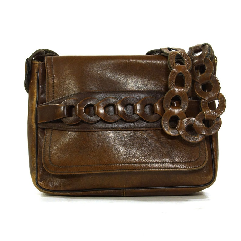 b195e05ce42f Brown Leather Purse Vintage 70s Hippie Boho Shoulder Bag Brown