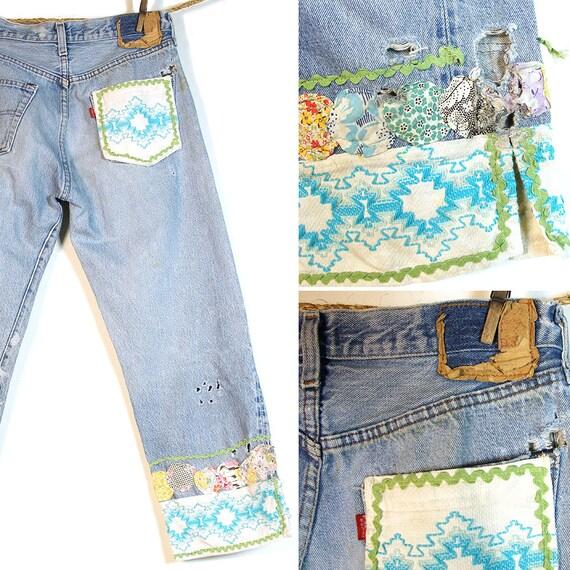 patchwork levi 501 jeans vintage des ann es 70 levi en etsy. Black Bedroom Furniture Sets. Home Design Ideas