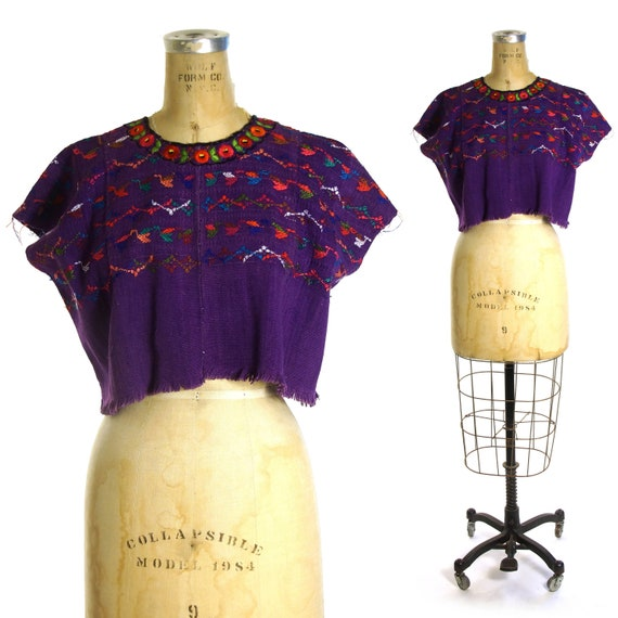 Huipil Blouse Vintage 70s Embroidered Peasant Blou