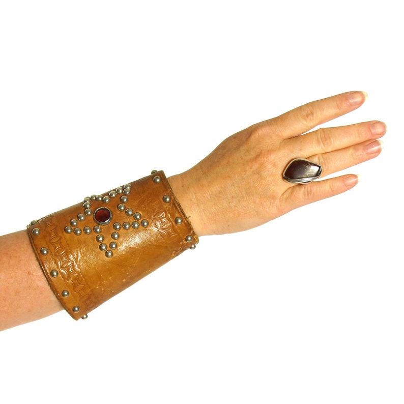 d37db6628dbea7 Studded Leather Cuff Vintage 60s BIG Western Rodeo Wrist Guard | Etsy