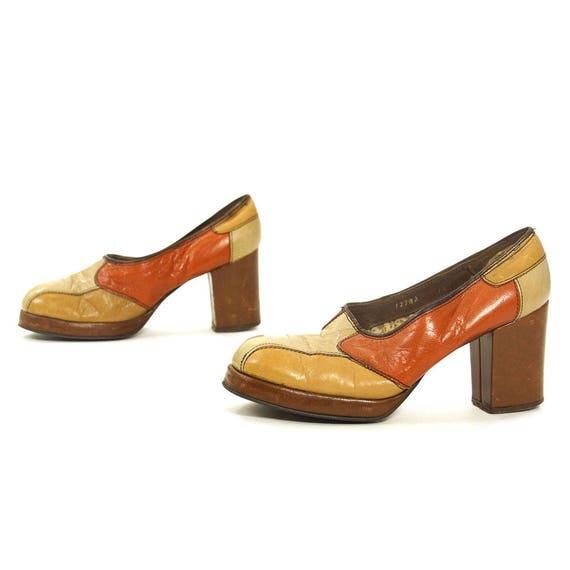 Patchwork Leder Platforms Vintage Etsy 60s High Chunky Heel Slip   Etsy Vintage c3d33d