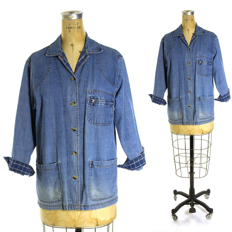 cca7be6a87 Denim Shirt Vintage 80s Field Jacket Style Jeans Button Down