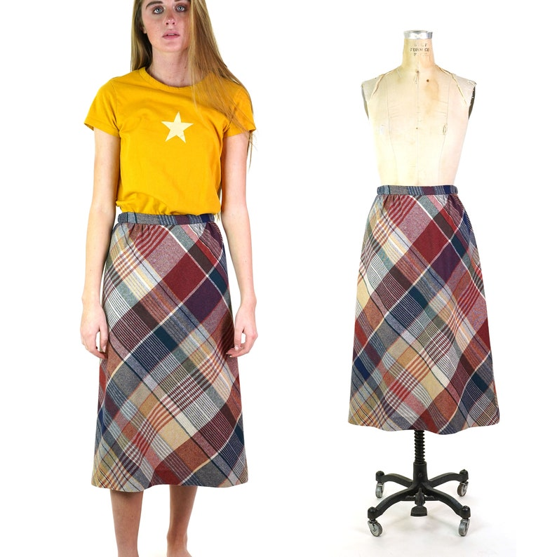 Plaid Wool Handmade A-Line Skirt Vintage 70s Size Small